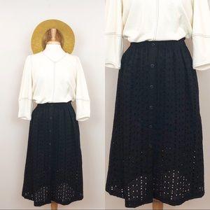 Mossimo • Black Eyelet Button Down Midi Skirt